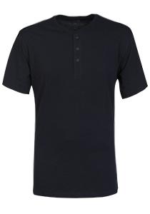 SCHIESSER Mix+Relax T-shirt, korte mouw, O-hals met knoopsluiting, blauw