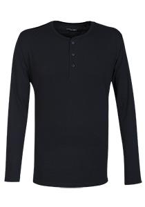 SCHIESSER Mix+Relax T-shirt, lange mouw, O-hals met knoopsluiting, blauw