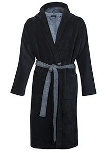 SCHIESSER heren badjas, ultralicht velours met capuchon, blauw met lichtblauw