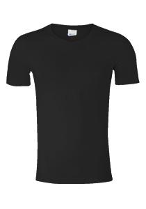 SCHIESSER Long Life Cotton T-shirt (1-pack), V-hals, zwart