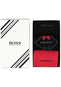 HUGO BOSS cadeauset sokken, giftbox met 3 paar heren sokken, zwart, rood en sneeuwvlok dessin