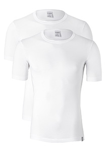SCHIESSER 95/5 heren T-shirt (2-pack), O-hals, wit