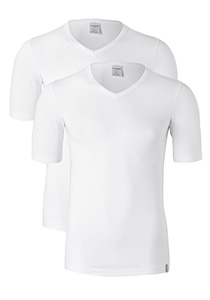 SCHIESSER 95/5 heren T-shirt (2-pack), V-hals, wit