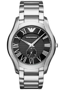 Armani heren horloge (43 mm), zwart met roestvrijstalen band