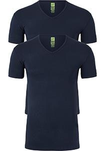 ALAN RED T-shirts Baltimora bamboo (2-pack), V-hals stretch, blauw