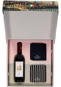Heren cadeaubox: Carlo Lanza Italiaans pakket sokken met rode wijn