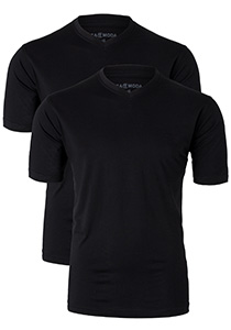 Casa Moda  T-shirts (2-Pack), V-neck, zwart
