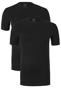 Claesen's T-shirts (2-pack), O-hals, zwart