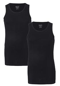 Claesen's Basics singlets (2-pack), heren rib ondershirts, zwart