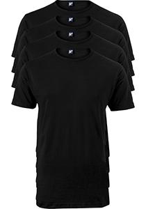 ALAN RED T-shirts Derby extra lang (4-pack), O-hals, zwart