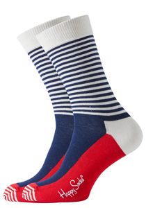 Happy Socks sokken, Half Stripe Sock in het rood-wit-blauw