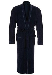 SCHIESSER heren badjas, badstof, blauw met contrastbies