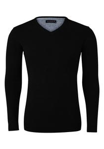 Michaelis Slim Fit v-hals trui katoen, zwart