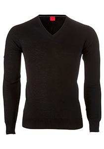 OLYMP Level 5 body fit trui wol met zijde, V-hals, zwart