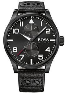 Hugo Boss heren horloge (50 mm), zwart met zwarte leren band