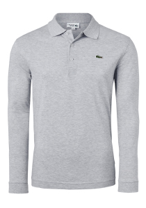 Lacoste Sport polo lange mouwen Regular Fit stretch, grijs melange