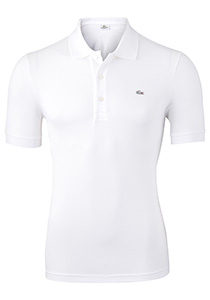 Lacoste stretch slim fit polo, heren polo extra getailleerd, wit