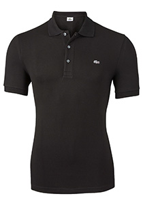 Lacoste stretch slim fit polo, heren polo extra getailleerd, zwart