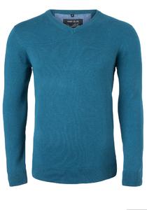 MARVELIS modern fit trui katoen, V-hals, turquoise