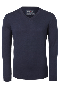 MARVELIS heren trui wol, V-hals, donkerblauw