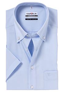 MARVELIS comfort fit overhemd, korte mouw, lichtblauw met button-down kraag
