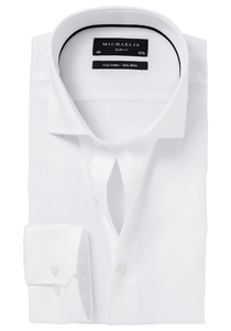 Michaelis Slim Fit overhemd, mouwlengte 7, wit (Twill)