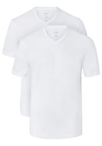 OLYMP T-shirts (2-Pack), V-Hals, wit