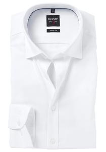 OLYMP Level 5 body fit overhemd, wit met diamant structuur