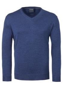 OLYMP heren trui wol, V-hals, indigo blauw