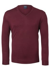 OLYMP heren trui wol, V-hals, donker rood