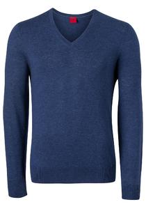 OLYMP Level 5 Body Fit heren trui, wol met zijde, royal blauw