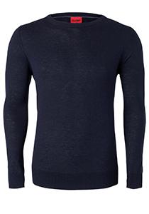 OLYMP Level 5 Body Fit heren trui, wol met zijde, marine blauw
