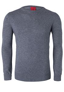 OLYMP Level 5 Body Fit heren trui, wol met zijde, zilver grijs