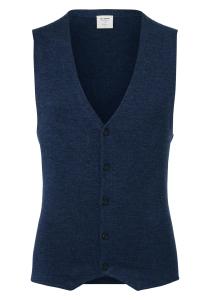 OLYMP Level 5 body fit gilet, wol met zijde, blauw mouwloos vest