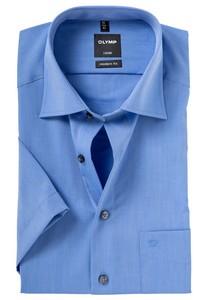 OLYMP Luxor modern fit overhemd, korte mouw, midden blauw