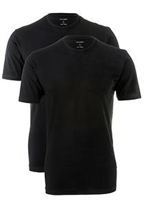 OLYMP T-shirts (2-pack), O-hals, zwart
