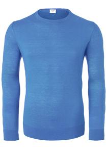 OLYMP Level 5 body fit trui wol met zijde, O-hals , lichtblauw