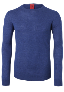 OLYMP Level 5 Body Fit heren trui, wol met zijde, royal blauw