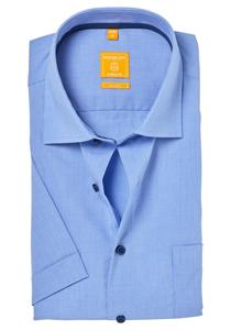 Redmond Modern Fit overhemd, korte mouw, blauw (contrast)