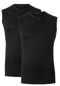 Schiesser American T-shirts, muscle shirt O-hals 2-pack, zwart