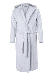 SCHIESSER heren badjas, dik badstof, lichtgrijs met ingeweven streep