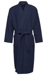 Schiesser heren badjas, donkerblauw (piqué)