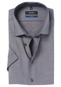 Seidensticker Shaped Fit overhemd korte mouw, antraciet fil à fil