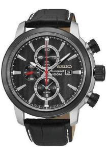 Seiko heren horloge (44 mm), zwart met roestvrijstalen band