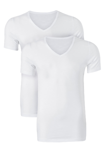 Ten Cate Basic heren T-shirts V-hals, 2-pack, wit