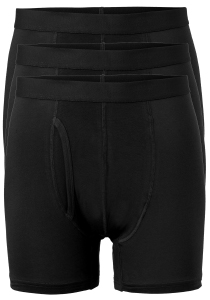 ten Cate Basic boxershorts (3-pack), heren boxers lang met gulp, zwart