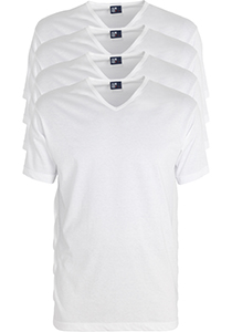 ALAN RED T-shirts Vermont extra lang (4-pack), V-hals, wit
