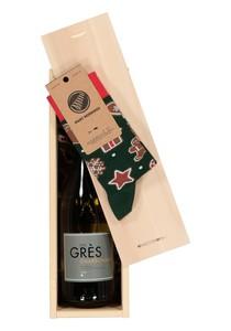 Heren en dames Kerst cadeaubox: witte wijn met Many Mornings Gingerbread man Socks