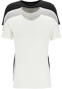 Tommy Hilfiger Premium Essentials, Cotton stretch T-shirts (3-pack), V-hals, zwart, wit, grijs