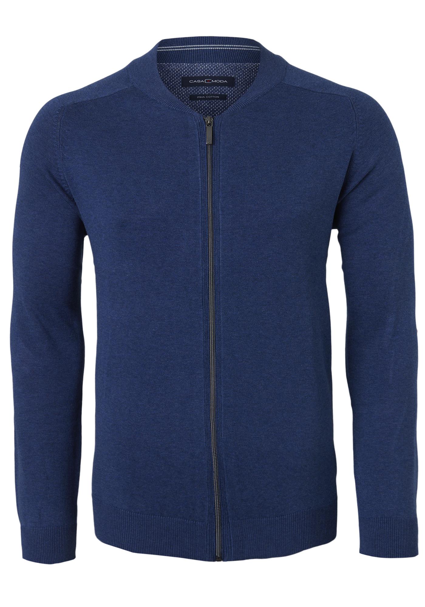 Casa Moda heren vest katoen, jeans blauw (met rits